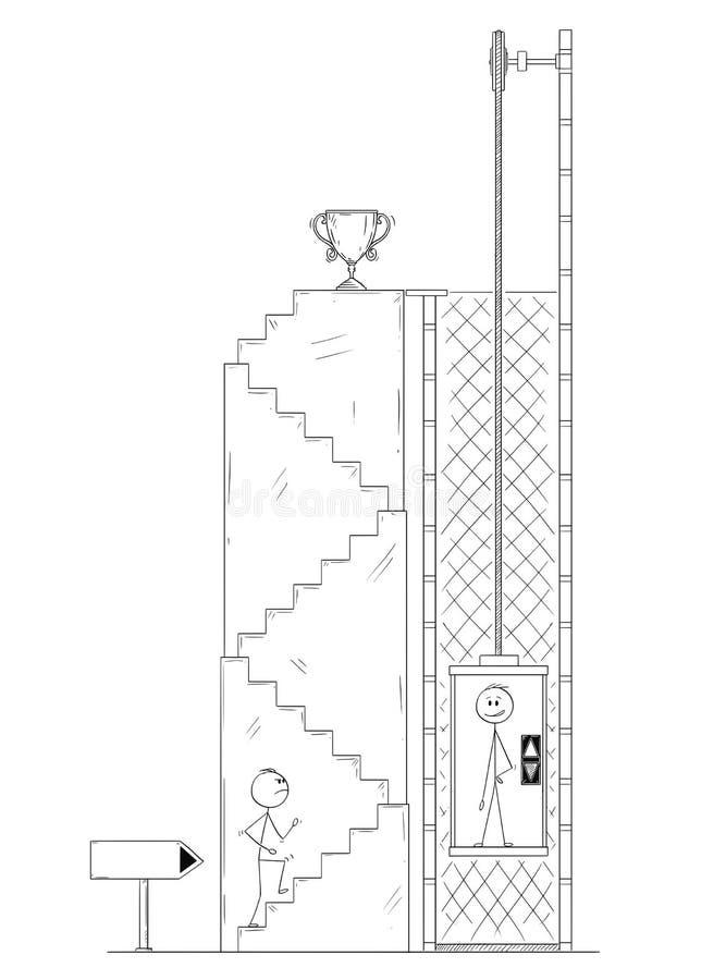 Desenhos animados do homem ou do homem de negócios Walking Up as escadas para o troféu do ` s do vencedor, quando o concorrente u ilustração do vetor