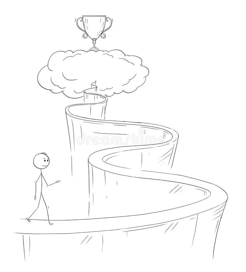 Desenhos animados do homem ou do homem de negócios Walking Up o trajeto ao céu para seus sonho e sucesso ilustração royalty free