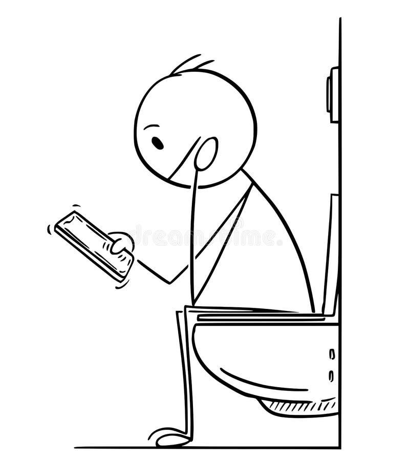 Desenhos animados do homem ou do homem de negócios Working no telefone celular ao sentar-se no toalete ilustração do vetor