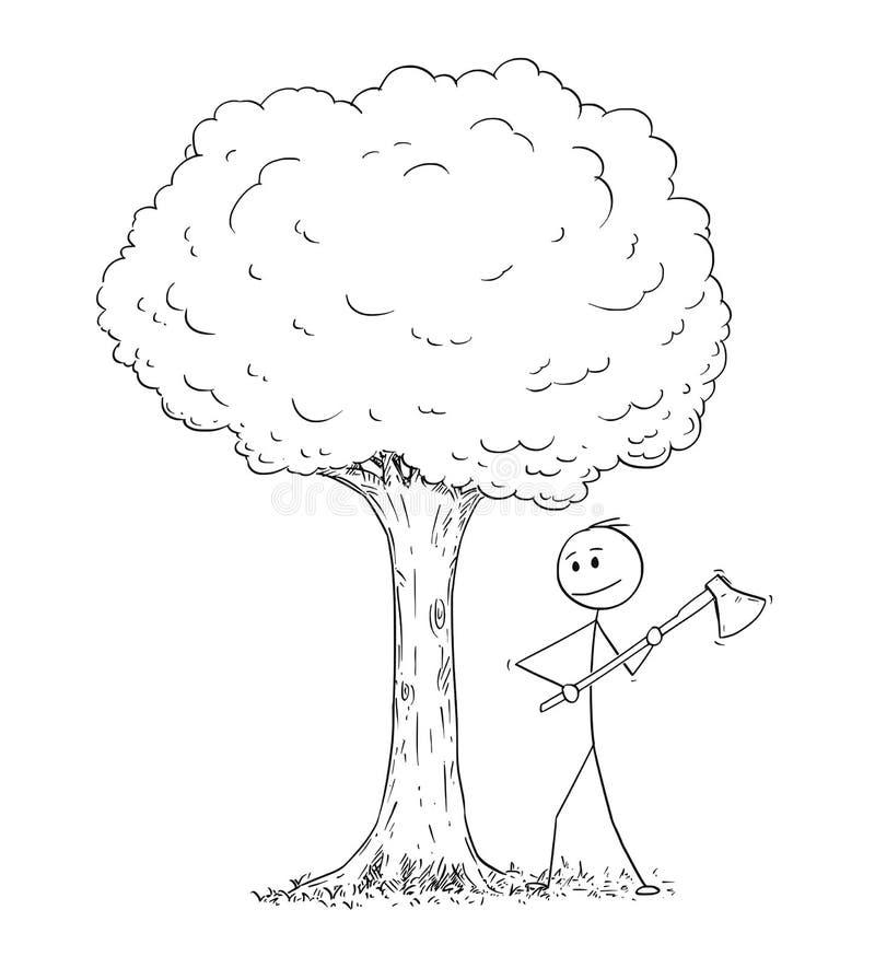 Desenhos animados do homem ou do lenhador With Axe Chopping abaixo da árvore ilustração royalty free