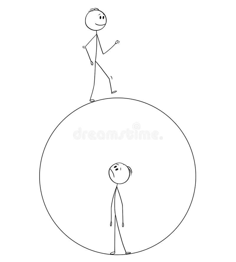 Desenhos animados do homem que é prendido dentro de sua bolha e vista em um outro homem que esteja fora ilustração stock
