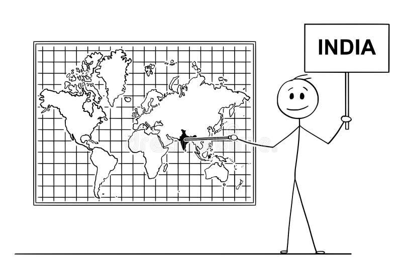 Desenhos animados do homem que apontam em Republic of India no mapa do mundo da parede ilustração do vetor