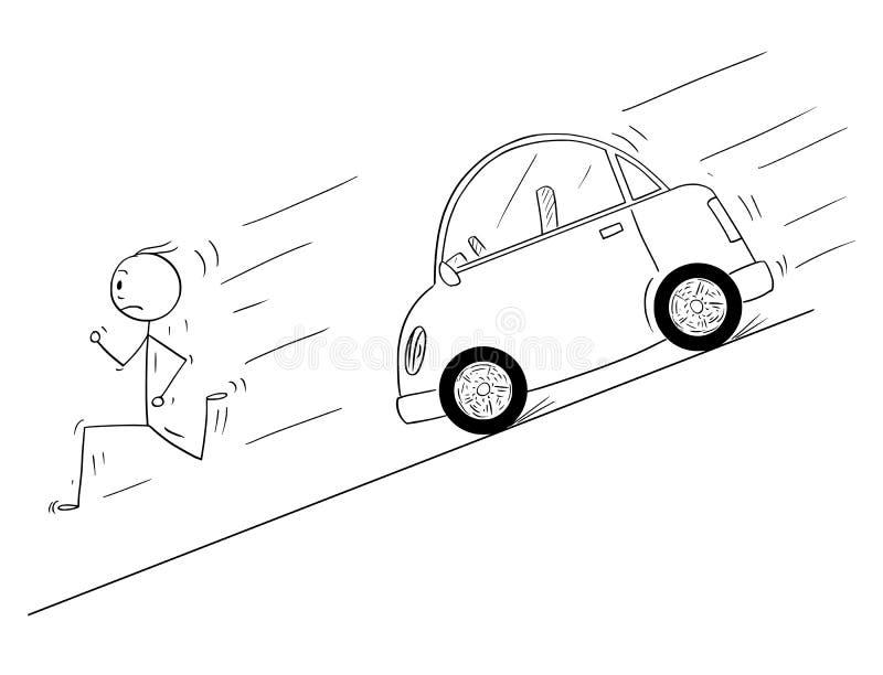 Desenhos animados do homem que correm para baixo ao monte de mover-se do carro descontrolado sem motorista ilustração royalty free