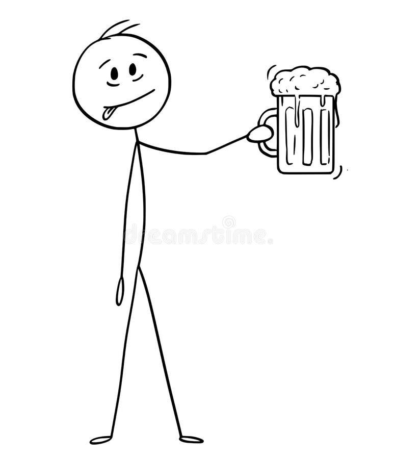 Desenhos animados do homem que gosta da cerveja e de guardar a caneca ou a pinta de vidro de cerveja ilustração do vetor