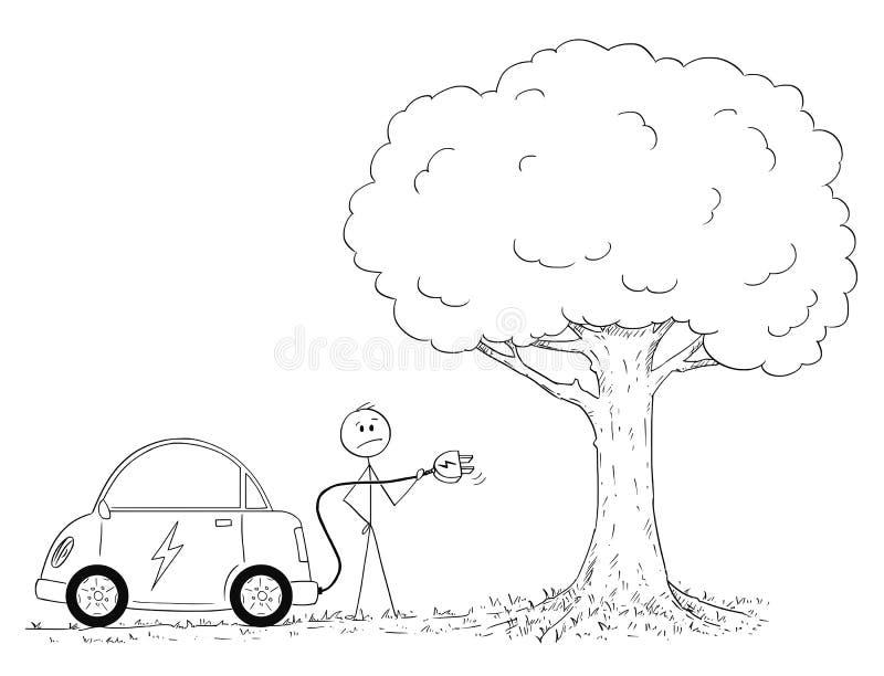 Desenhos animados do homem que olham como carregar o carro elétrico na natureza ilustração royalty free