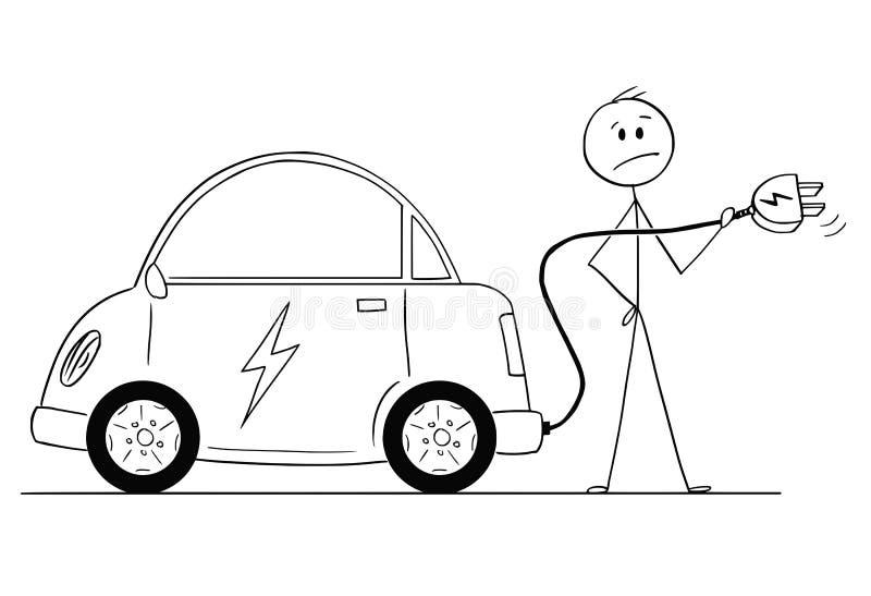 Desenhos animados do homem que quer carregar seu carro elétrico ilustração stock
