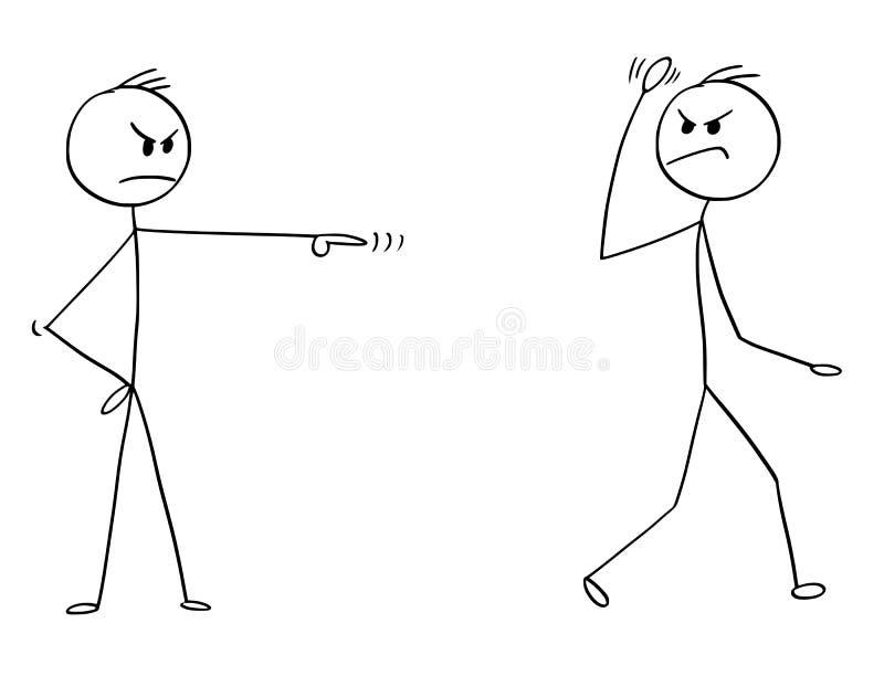 Desenhos animados do homem, do trabalhador ou do homem de negócios irritado Fired, despedido ou demitido do trabalho ilustração royalty free