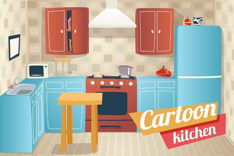 Desenhos animados do interior dos acessórios da mobília da cozinha ilustração royalty free