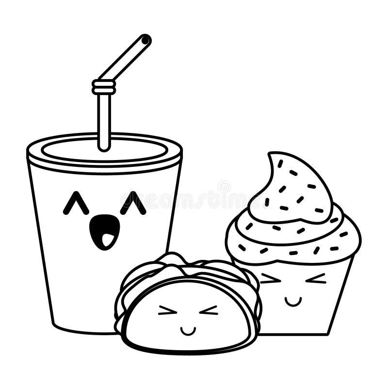 Desenhos Animados Do Kawaii Do Fast Food Em Preto E Branco