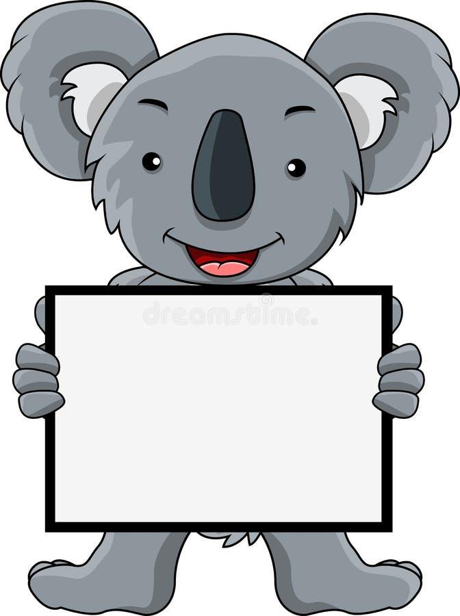 Desenhos animados do Koala com sinal em branco ilustração royalty free