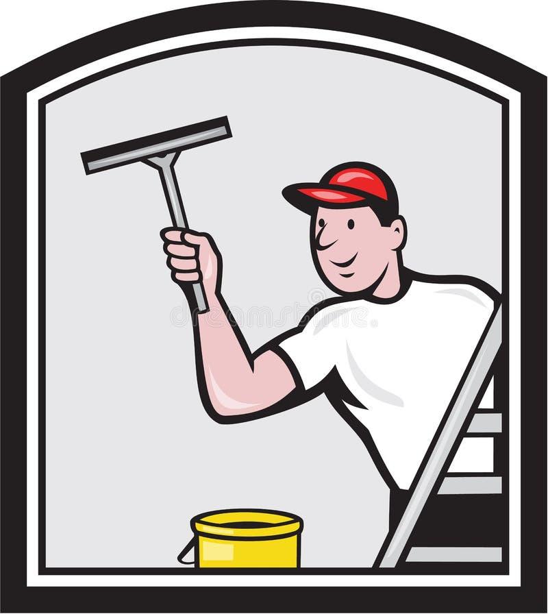 Desenhos animados do líquido de limpeza da arruela de janela ilustração do vetor