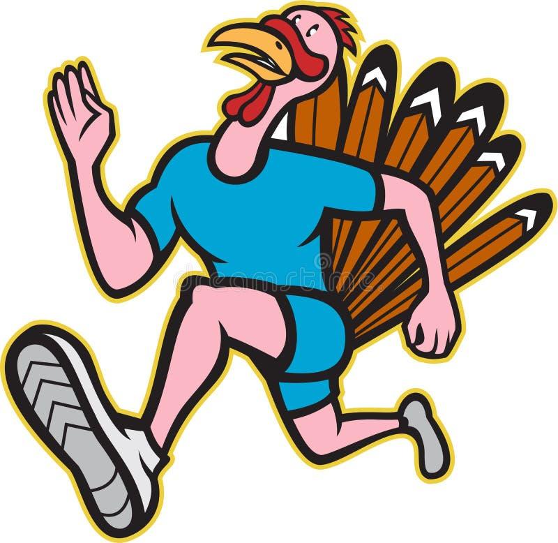 Desenhos animados do lado do corredor da corrida de Turquia isolados ilustração stock