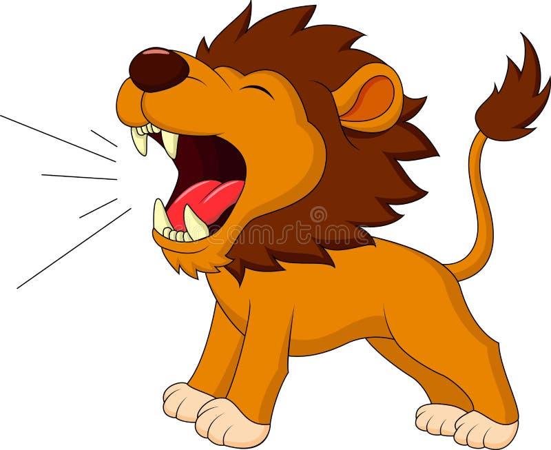Desenhos animados do leão que rujem ilustração royalty free