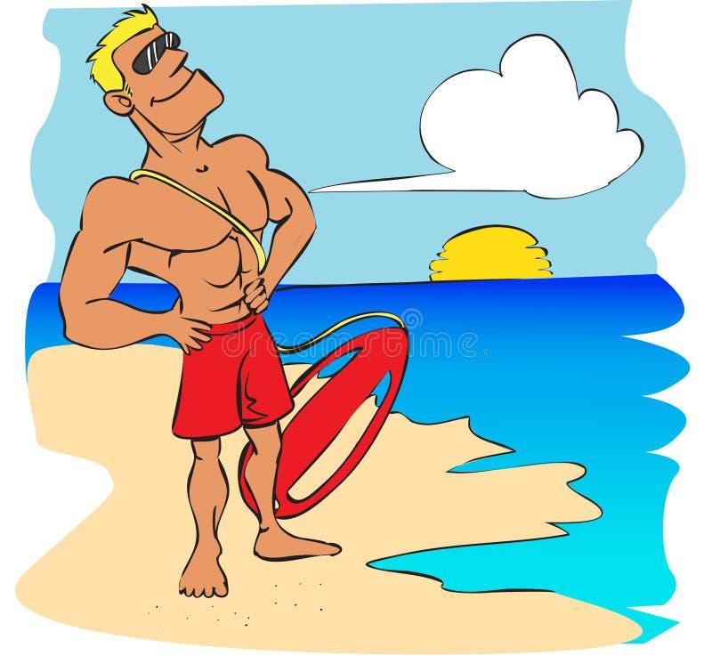 Desenhos animados do lifeguard da praia ilustração do vetor