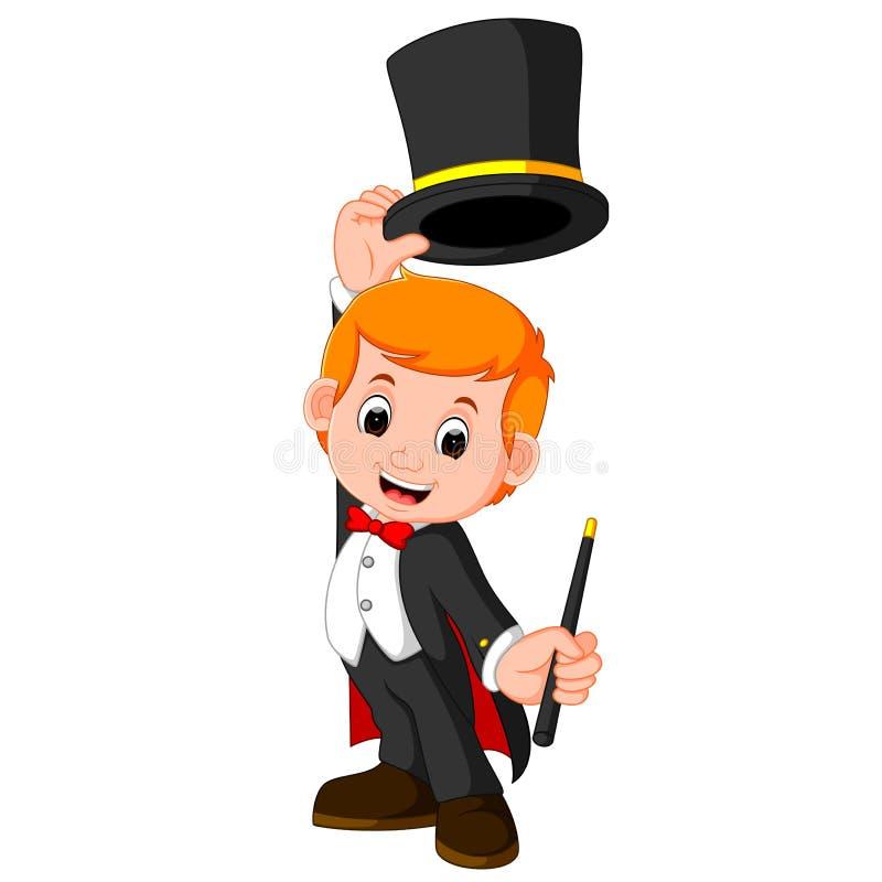 Desenhos animados do mágico do menino ilustração royalty free