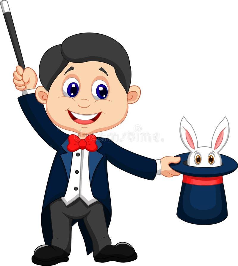 Desenhos animados do mágico que retiram um coelho de seu chapéu alto ilustração stock