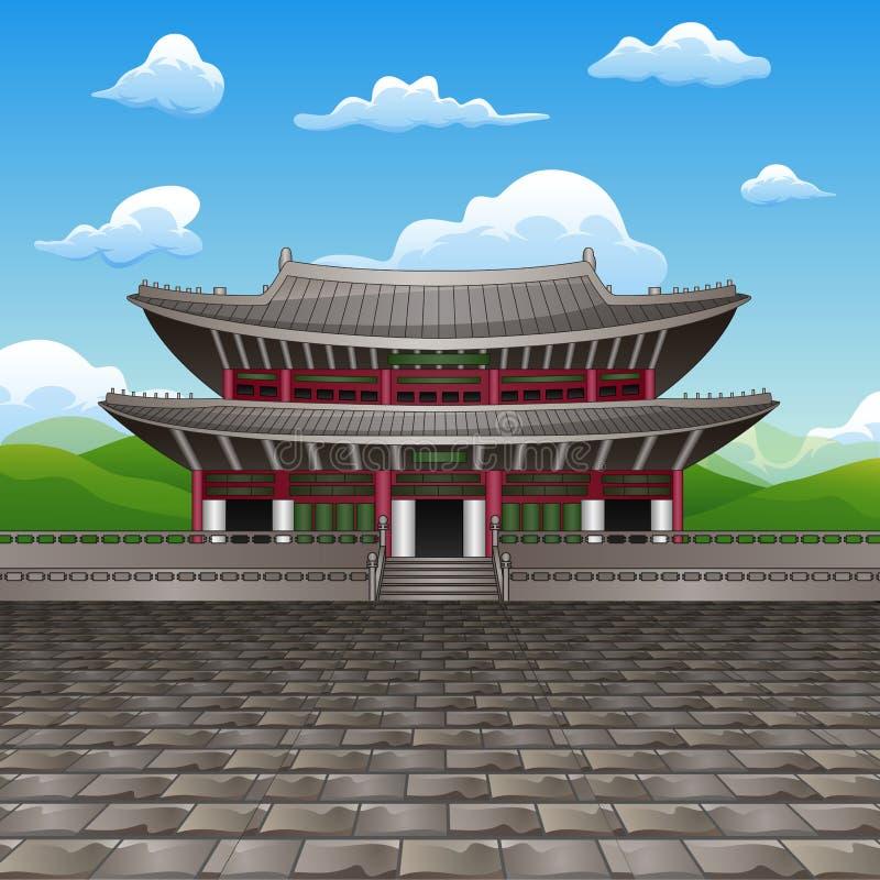 Desenhos animados do marco liso do projeto do palácio de Changdeokgung ilustração do vetor