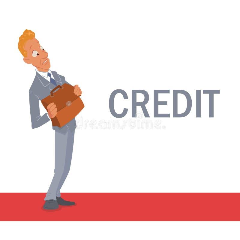 Desenhos animados do medo do crédito do homem de negócios do homem ilustração stock