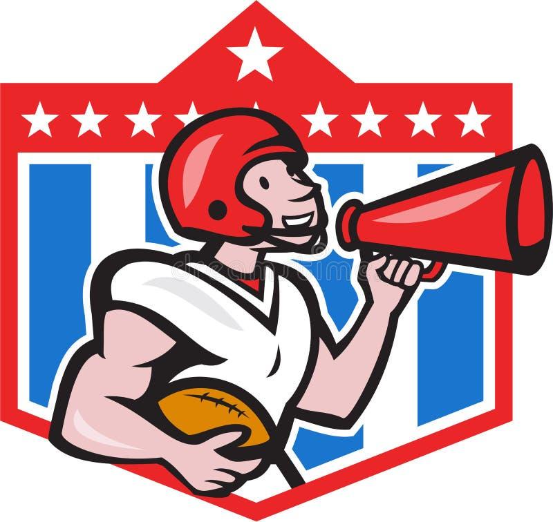 Desenhos animados do megafone do lançador do futebol americano ilustração stock