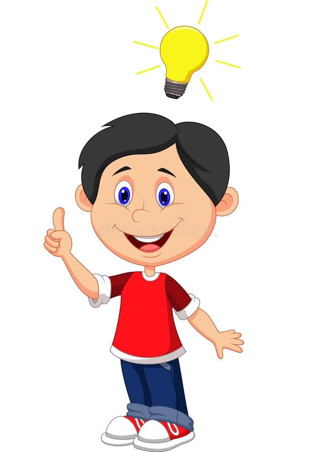 Desenhos animados do menino com uma boa ideia ilustração royalty free
