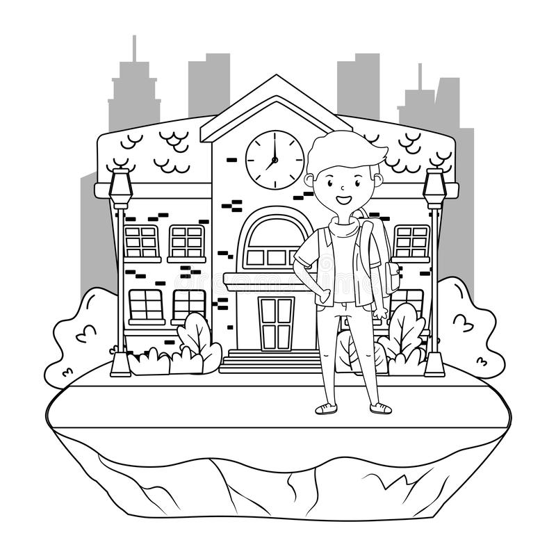 Desenhos animados do menino do projeto da escola ilustração stock