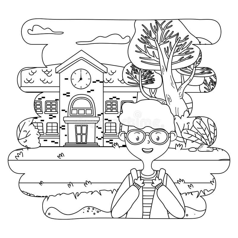 Desenhos animados do menino do projeto da escola ilustração royalty free
