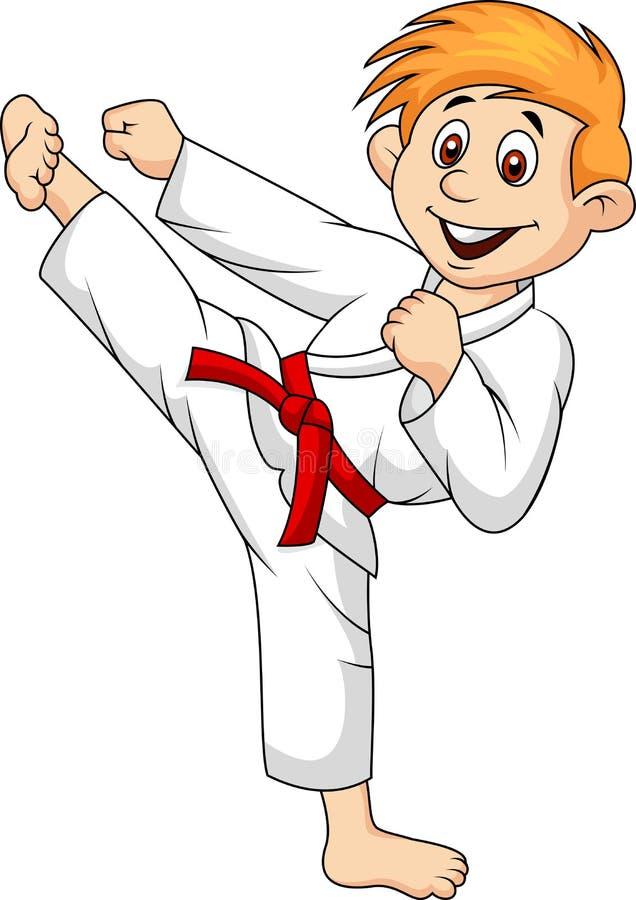 Desenhos animados do menino que fazem a arte marcial ilustração stock