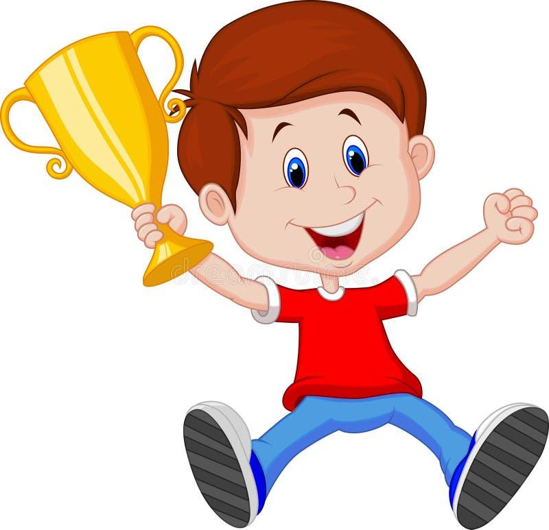 Desenhos animados do menino que guardam o troféu do ouro ilustração royalty free