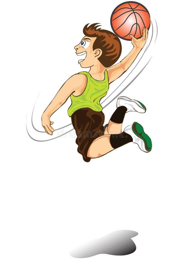 Desenhos animados do menino que jogam o basquetebol ilustração stock