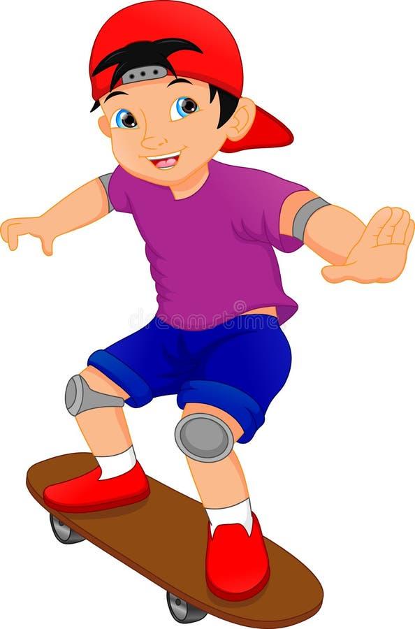 Desenhos animados do menino que jogam o skate ilustração do vetor