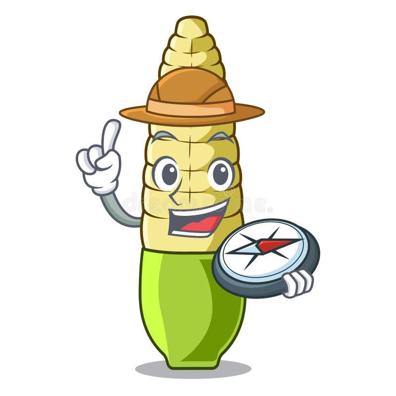 Desenhos animados do milho de beb? do explorador no refrigerador ilustração stock