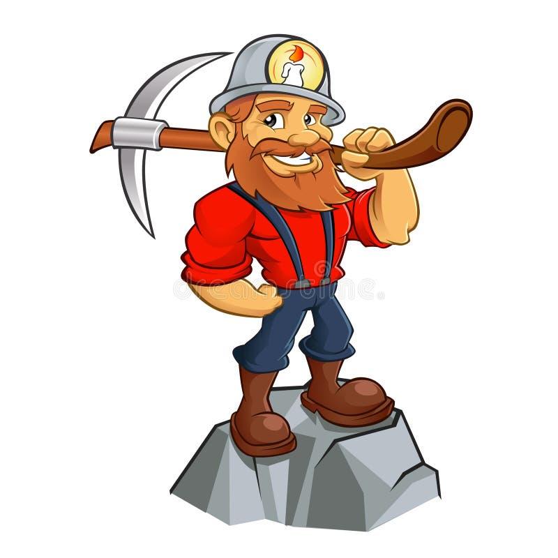 Desenhos animados do mineiro de ouro ilustração do vetor