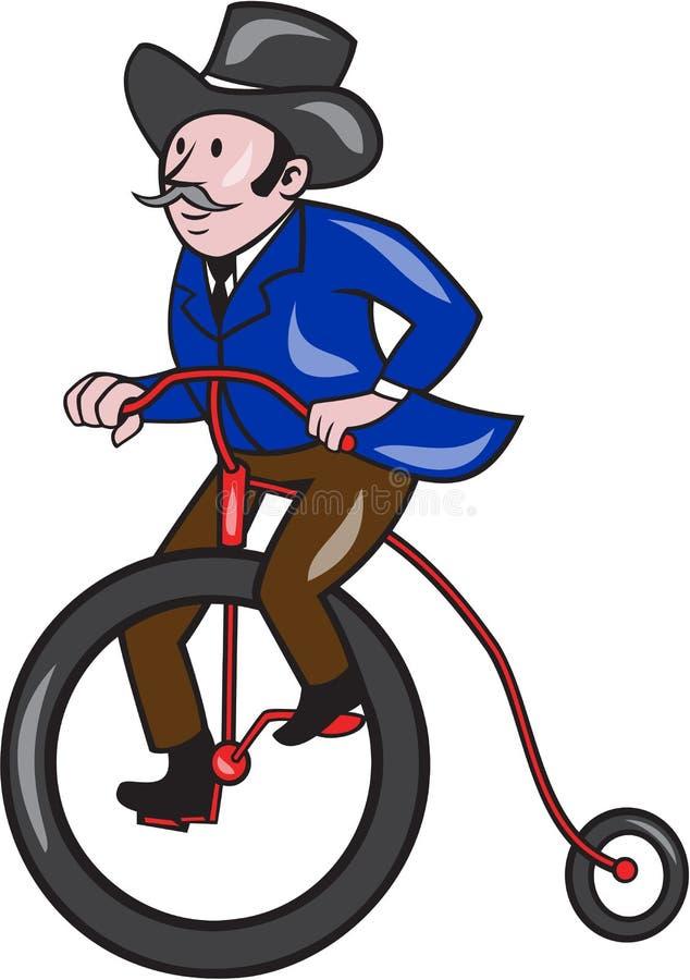 Desenhos animados do Moeda de um centavo-farthing da equitação do cavalheiro ilustração do vetor