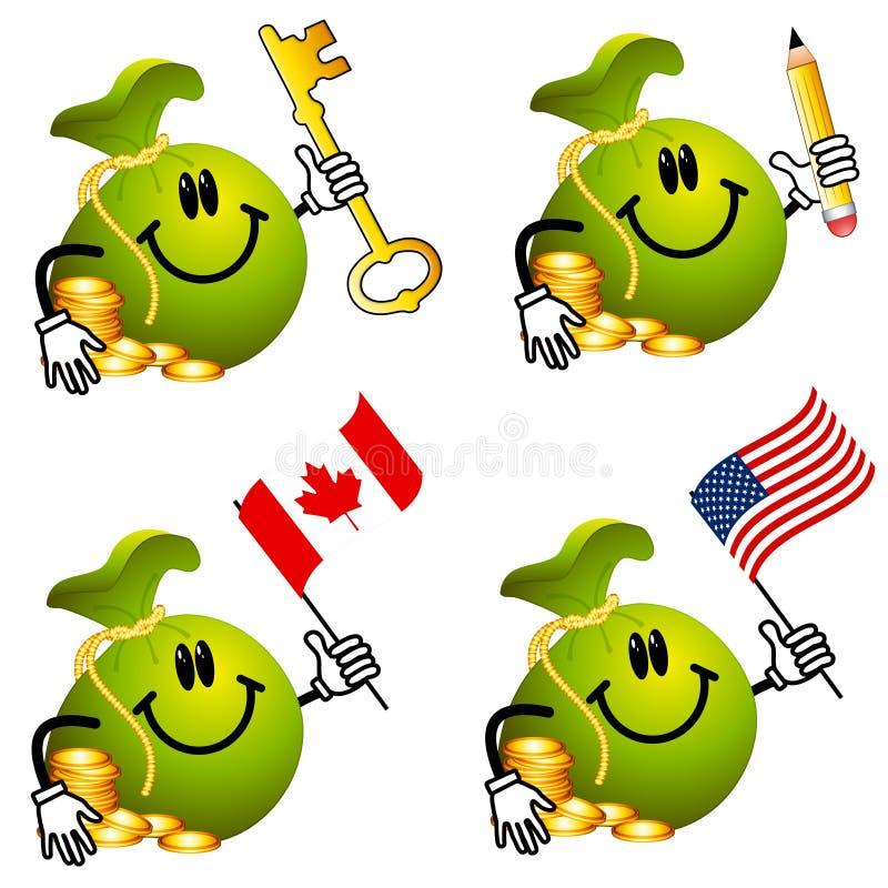 Desenhos animados do Moneybag que prendem os objetos 2 ilustração royalty free