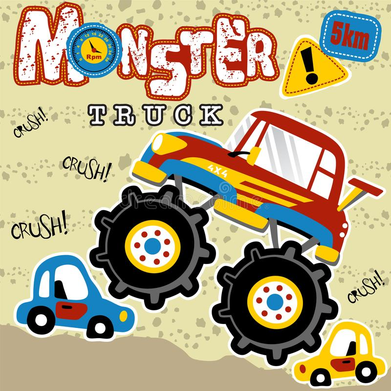 Desenhos animados do monster truck na ação ilustração stock