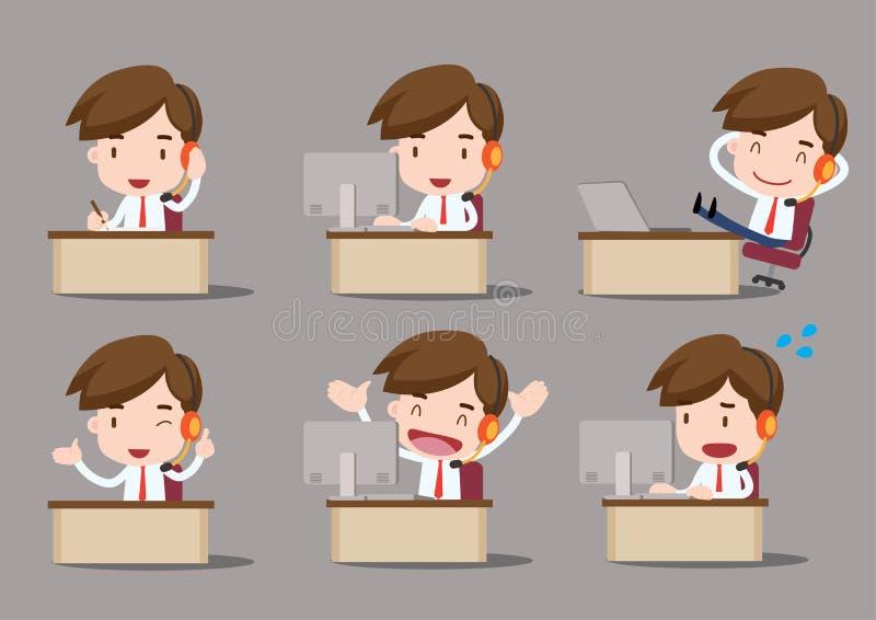 Desenhos animados do negócio, centro de atendimento foto de stock