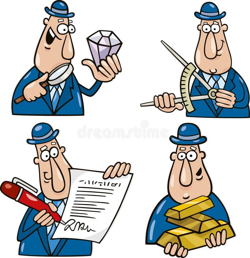 Desenhos animados do negócio com homem engraçado ilustração royalty free