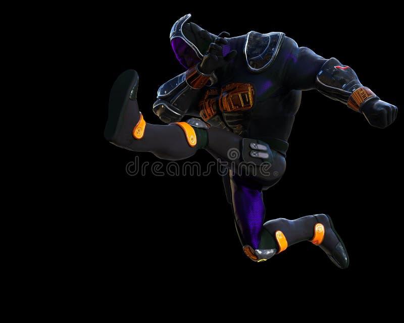 Desenhos animados do ninja do Cyber ilustração stock