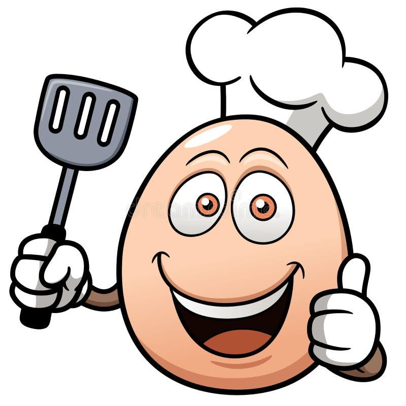 Desenhos animados do ovo do cozinheiro chefe ilustração stock