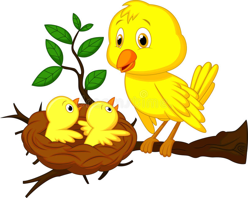 Desenhos animados do pássaro da mãe e de bebê ilustração do vetor