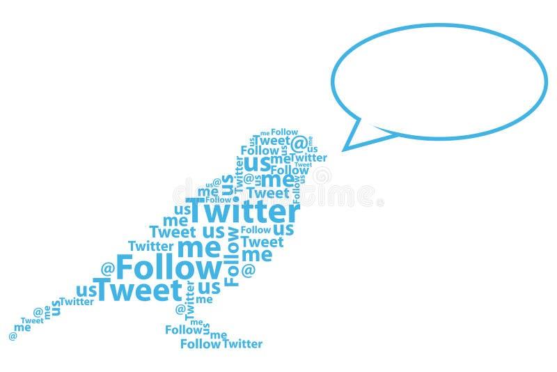 Desenhos animados do pássaro do Twitter ilustração stock