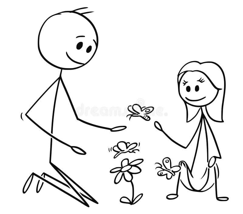Desenhos animados do pai e de flores e de borboletas de observação da filha ilustração stock