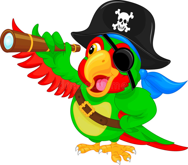 Desenhos animados do papagaio do pirata ilustração do vetor