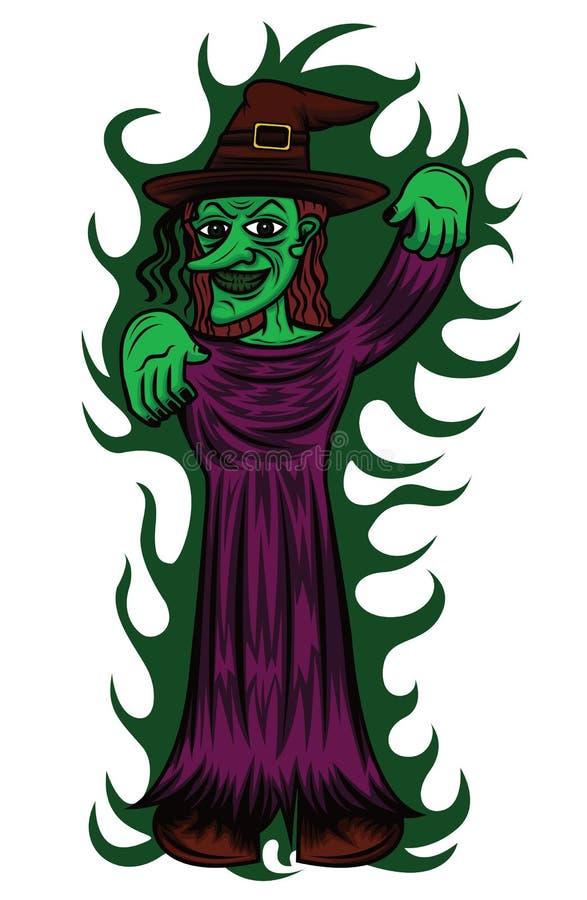 Desenhos animados do período da carcaça da bruxa ilustração do vetor