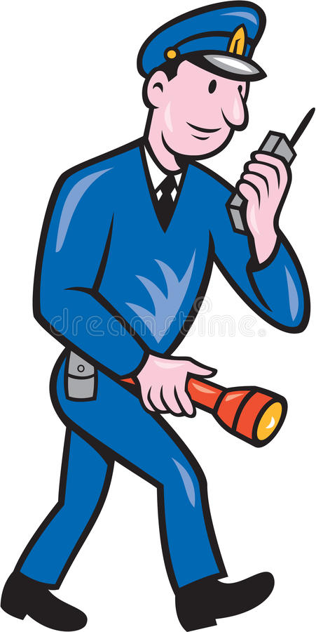 Desenhos animados do rádio da tocha do polícia ilustração do vetor
