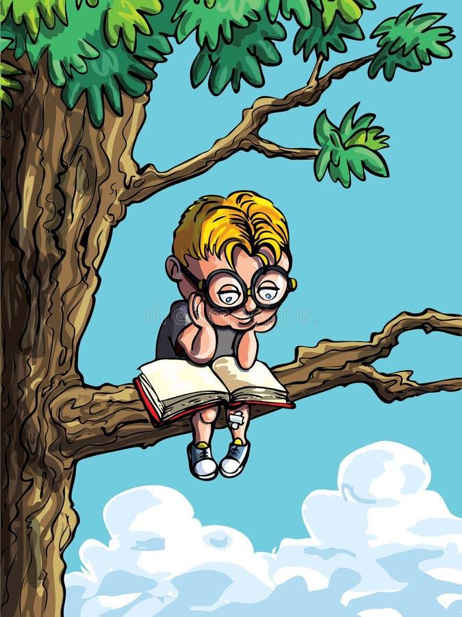Desenhos animados do rapaz pequeno em uma árvore ilustração royalty free