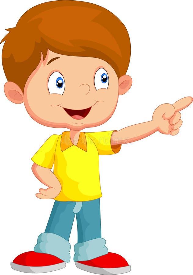 Desenhos animados do rapaz pequeno que apontam afastado ilustração stock