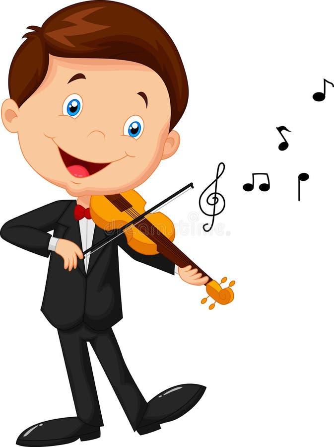 Desenhos animados do rapaz pequeno que jogam o violino ilustração royalty free