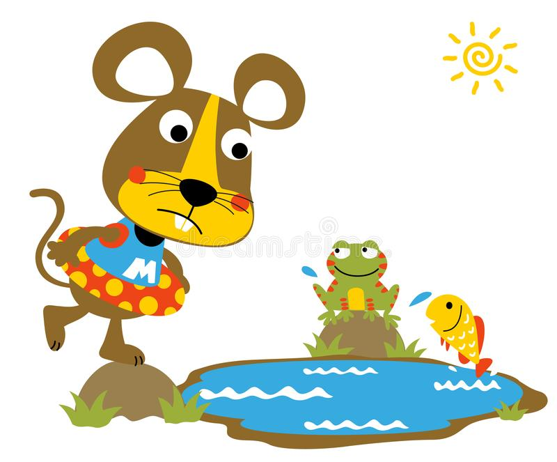 Desenhos animados do rato com pouco amigo na lagoa de peixes ilustração stock