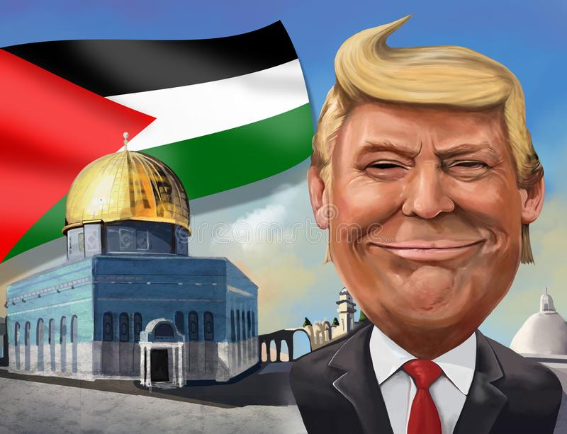 Desenhos animados do reconhecimento do Estados Unidos do Jerusalém como o tampão israelita ilustração stock
